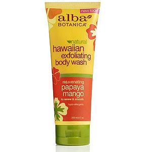 Купить Натуральный Гавайский омолаживающий гель-эксфолиант для душа ALBA BOTANICA с папайей и манго