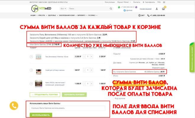 Вити Баллы и как ими пользоваться? | Vitimed.ru магазин здоровья и красоты